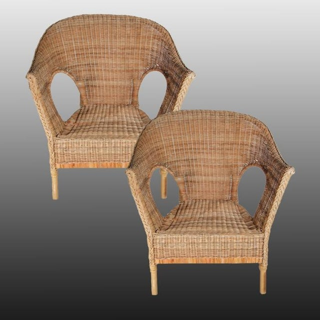 Wicker Patio Chairs with Cushions - A Pair - Image 4 of 8