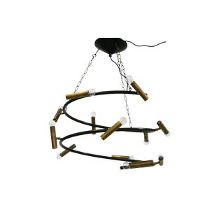 Spiral Chandelier From 2005 Vintage Domus Collection in Brass For Sale