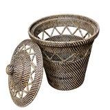 Image of Open Weave Design Rattan Basket For Sale