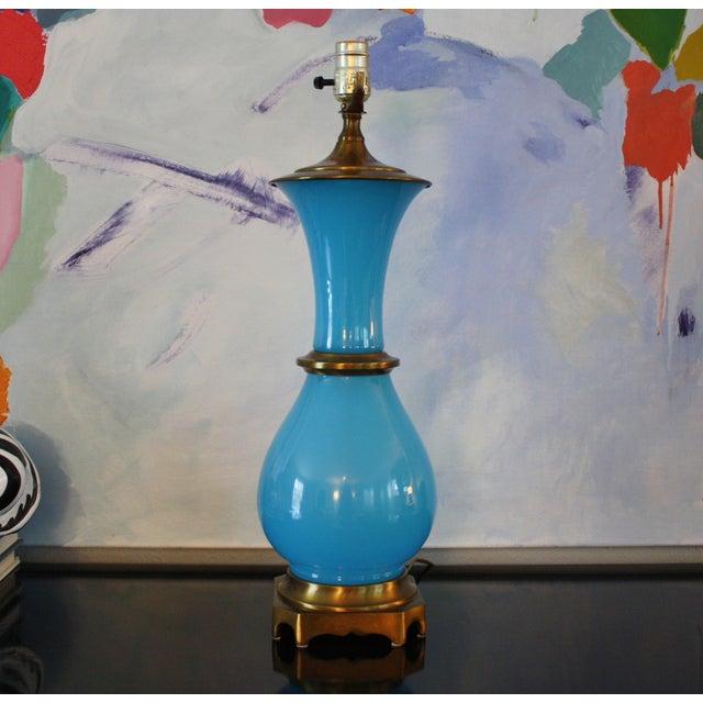 Vintage Murano Opaline Blue Lamp - Image 2 of 11