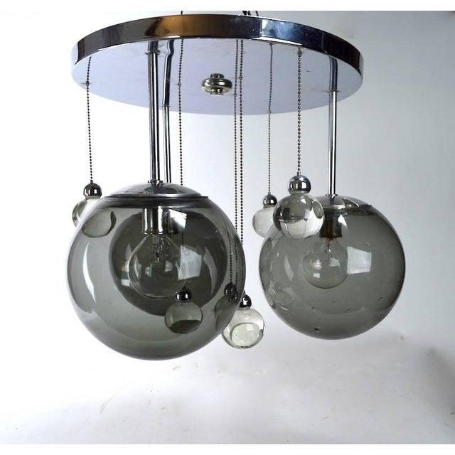 Chrome Lightolier Flush Mount Bubble Chandelier For Sale In New York - Image 6 of 8