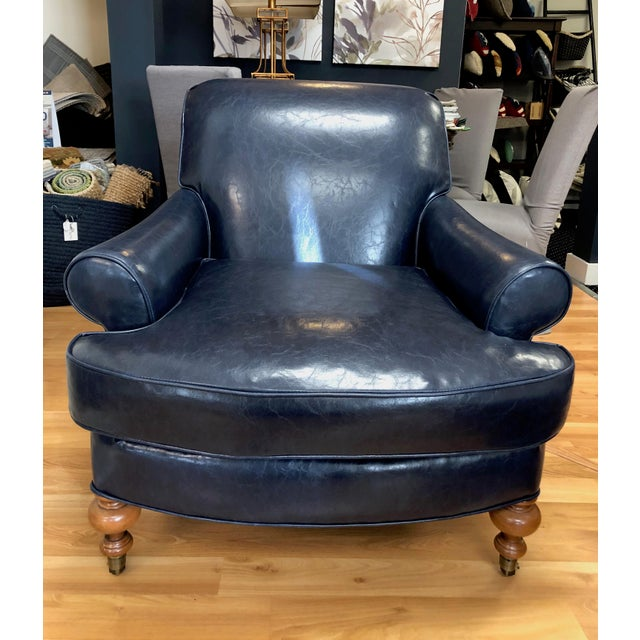 Tcs Designs Blue Vegan Leather Chair For Sale - Image 4 of 4