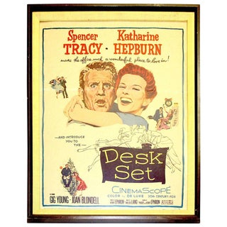 """1950s Original Dated & Numbered Tracy And Hepburn 1957 Movie Poster """"Desk Set"""" For Sale"""