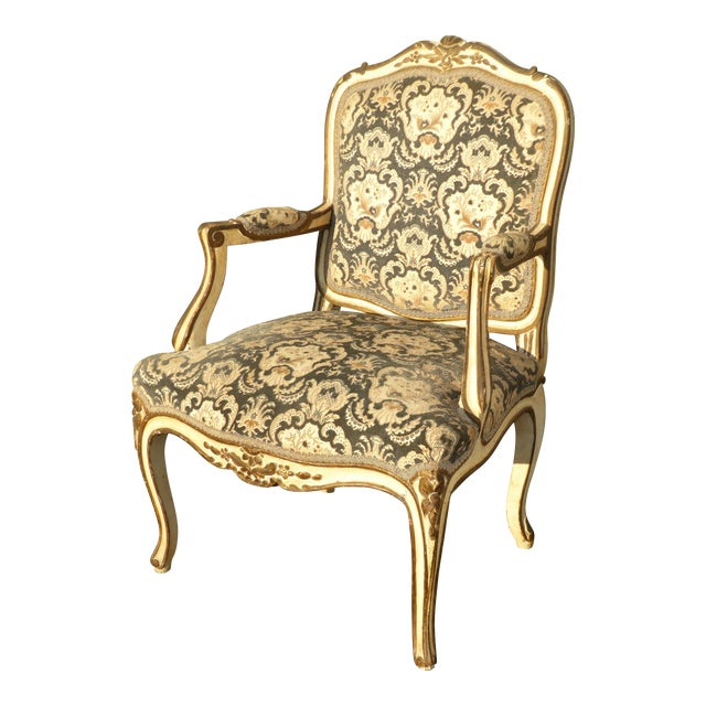 French Provincial Arm Chair With Floral Velvet Upholstery For Sale