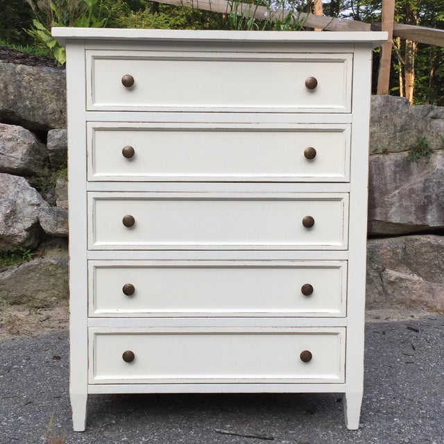 "A hand painted 5 drawer dresser or bureau made in Italy for Crate and Barrel's ""Harbor"" bedroom collection. This modern..."