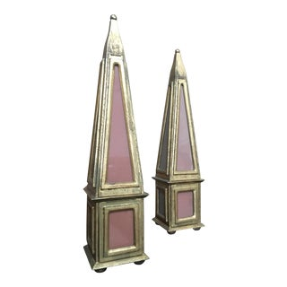 Florentia Italian Giltwood Obelisks - a Pair For Sale