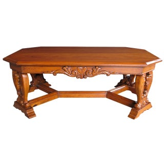 Handsome and Boldly-Carved French Baroque Style Cherrywood Coffee/Cocktail Table For Sale