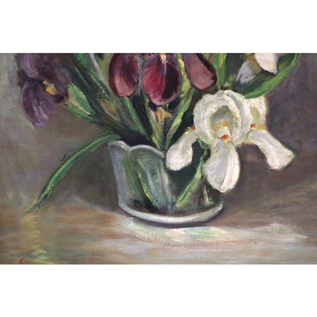 Cottage Mid-Century Iris Oil Painting by Jane Cramer For Sale - Image 3 of 8