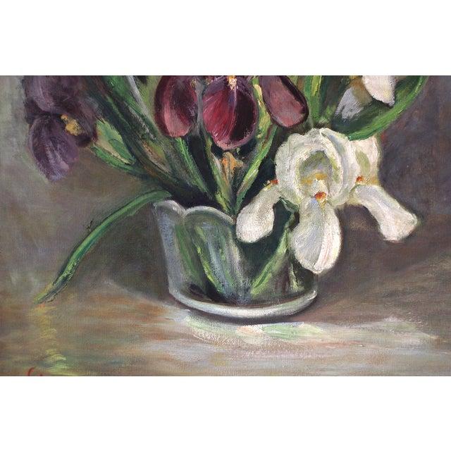 Mid-Century Iris Oil Painting by Jane Cramer - Image 3 of 8