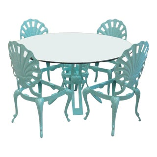 Caribbean Blue Brown Jordan Grotto Table & Chairs - Set of 5