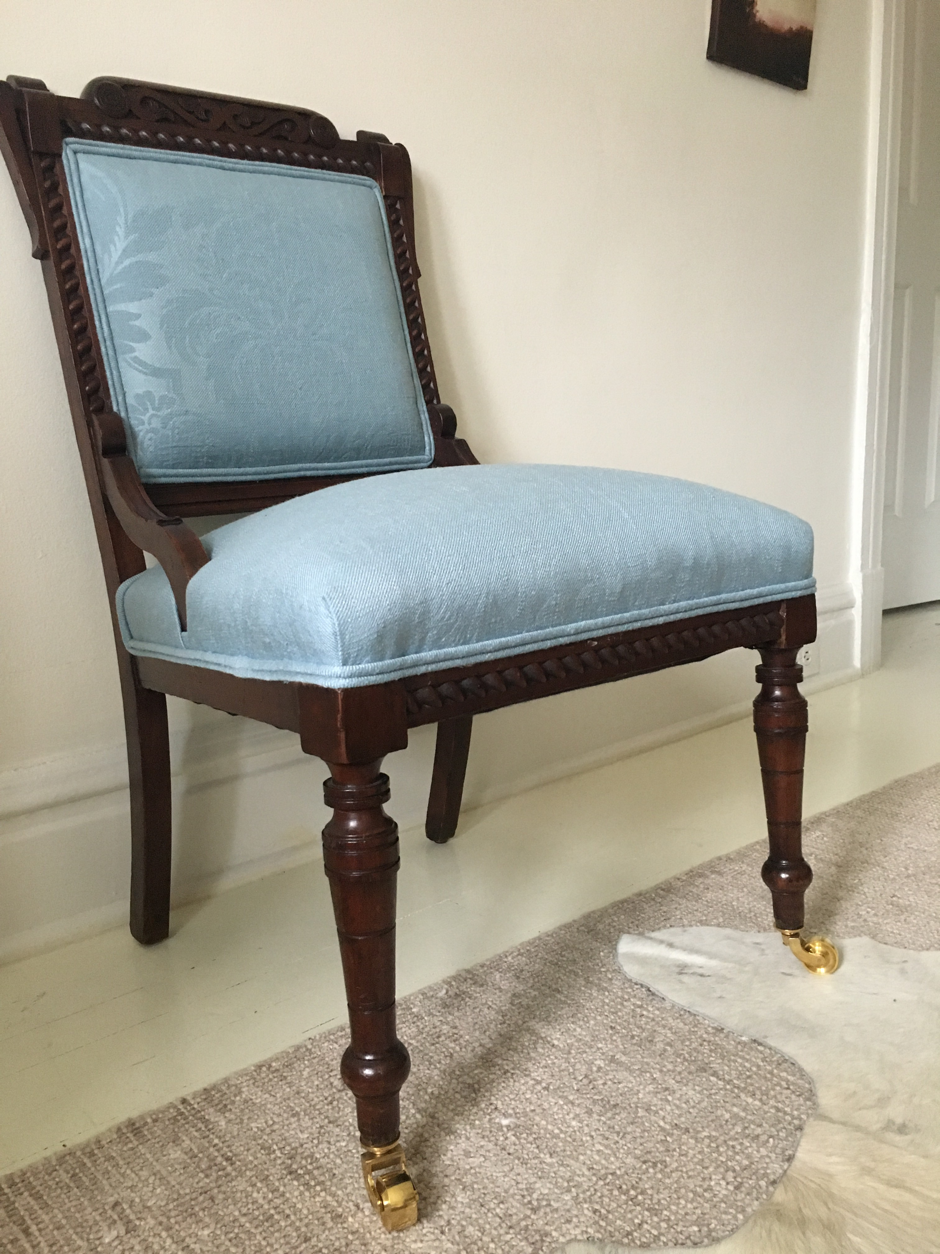 Newly Upholstered Victorian Side Chair   Image 2 Of 8