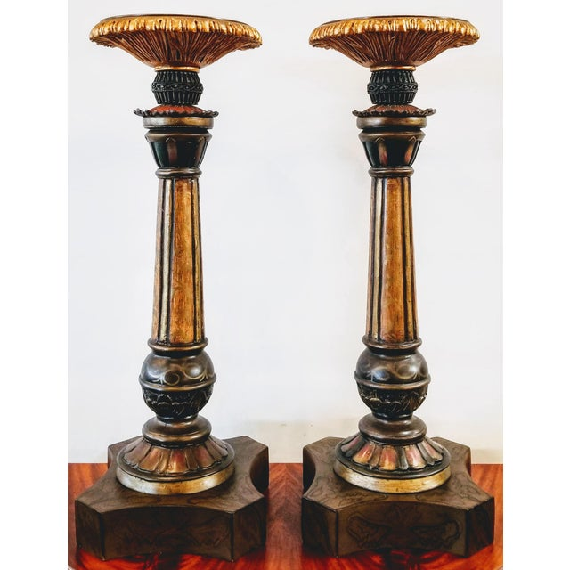 Vintage John-Richard Associates Painted Weighted Large Candlesticks Jra 4809 - a Pair For Sale In San Diego - Image 6 of 13
