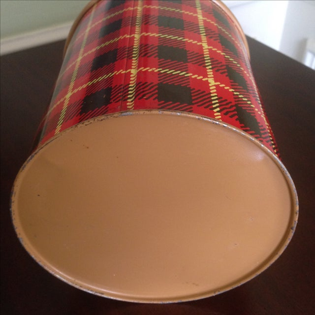 Vintage Plaid Metal Cooler Thermos - Image 9 of 11