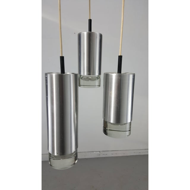 Mid-Century Modern 1960's Vintage RAAK B1075 Brushed Steel and Glass Triple Pendant Lamp For Sale - Image 3 of 8