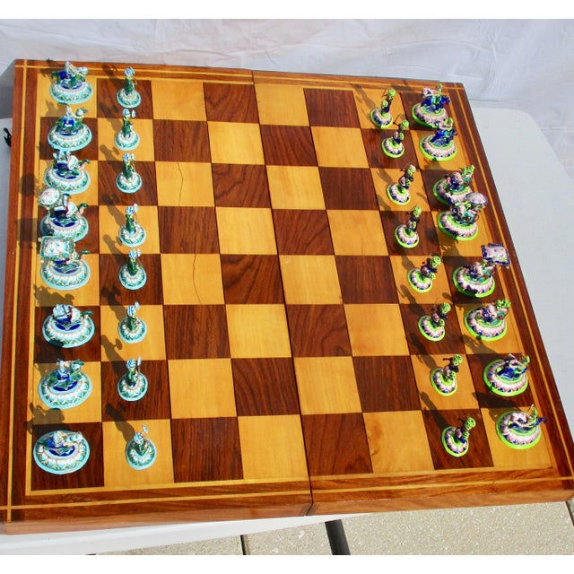Blue Indian Silver Enamel Mahogany Chess Set For Sale - Image 8 of 11