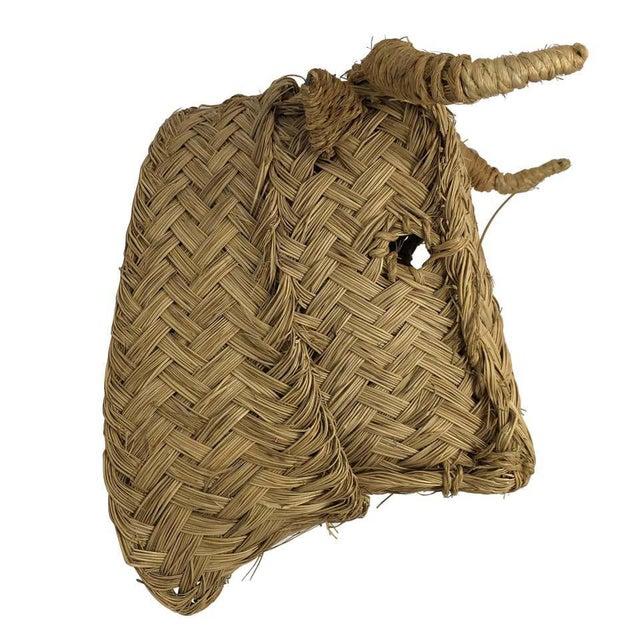 Mid 20th Century Handmade Esparto Grass Wall Mount Bulls Head For Sale - Image 11 of 11