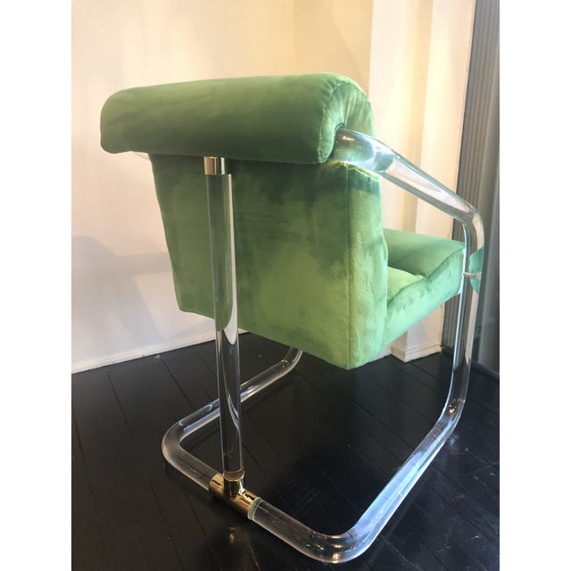 Vintage Signed Lion in Frost Hollywood Regency Lucite Brass Emerald Green Velvet Arm Chairs- A Pair For Sale - Image 12 of 13