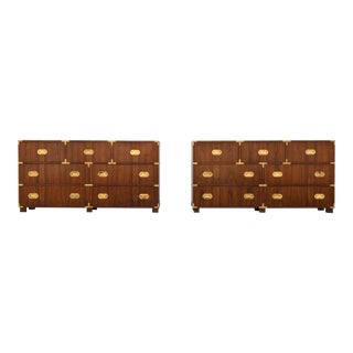 Walnut Baker Chests of Drawers - A Pair For Sale