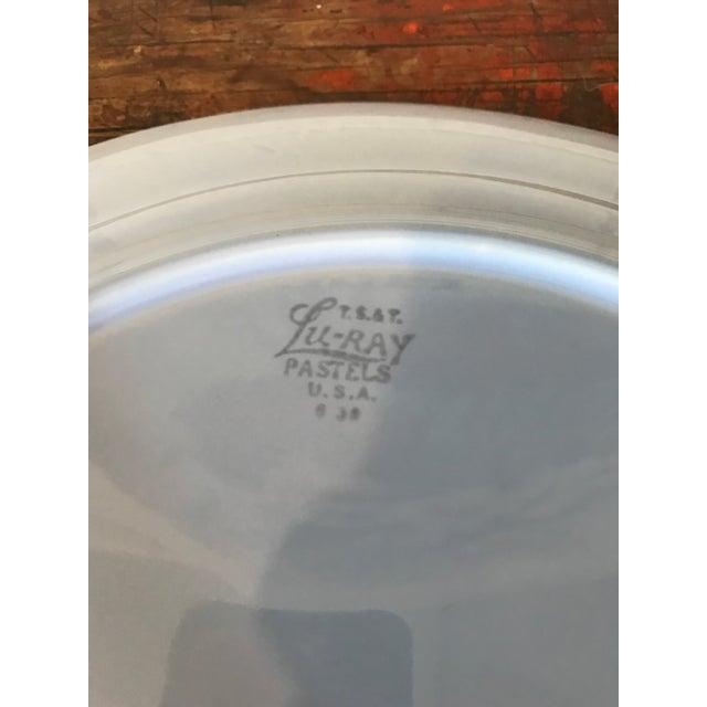 Ceramic 1940's Boho Chic Luray Pastels Large Blue Cake Platter For Sale - Image 7 of 8