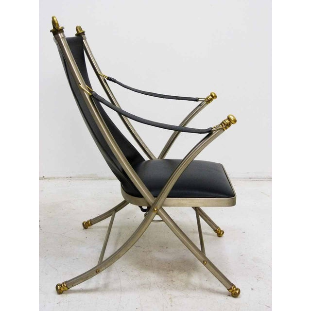 Jansen Style Leather & Brass Campaign Chair - Image 4 of 10