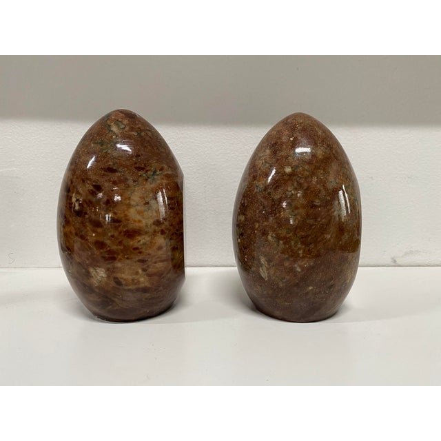 Lovely red, brown and grey vintage Italian marble bookends. The egg shape adds elegant, graceful curves, while the flat...