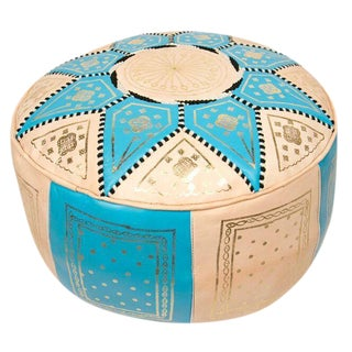 Turquoise Traditional Moroccan Pouf For Sale
