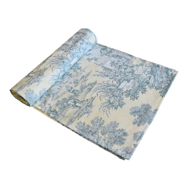 "Custom French Farmhouse Country Toile Table Runner 110"" Long For Sale"
