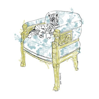 """""""Cat in Chair"""" Contemporary Still Life Print For Sale"""