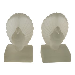 Art Deco Frosted Glass Bird Dove Pigeon Bookends - a Pair For Sale
