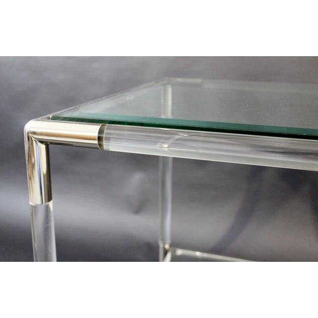 1970s Mid-Century Modern Charles Hollis Jones Era Chrome Lucite Glass Coffee Table For Sale - Image 5 of 9