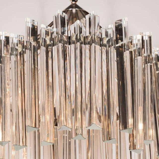 1970s Sophisticated Mid-Century Single-Tier Stepped Triedre Chandelier by Camer For Sale - Image 5 of 9