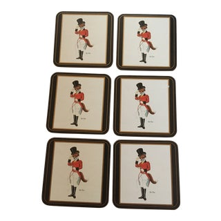 Vintage Pimpernel English Sir Fox Coasters Set of 6 For Sale