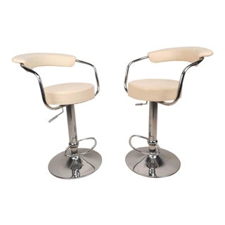 Mid-Century Modern Italian Adjustable Bar Stools -- A Pair For Sale