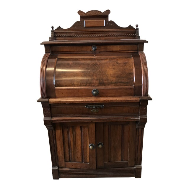 19th Century American Classical Cylinder Rolltop Secretary Desk For Sale