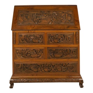 1930s Chinese Deeply Hand Carved Solid Teak Secretary Desk