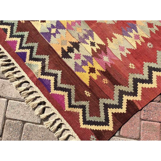Hand Made Vintage Turkish Kilim Rug For Sale In Raleigh - Image 6 of 10