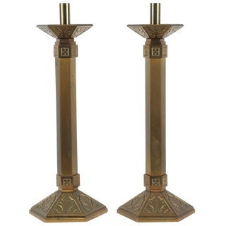 Pair of Art Deco Brass Candlesticks For Sale