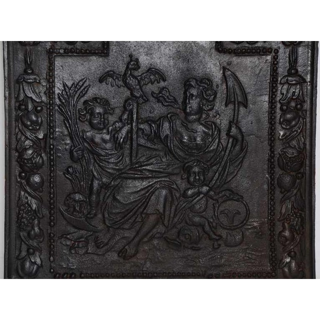 """17th c. Antique Cast Iron Fireback Displaying """"Spes"""" The Goddess Hope For Sale - Image 6 of 7"""