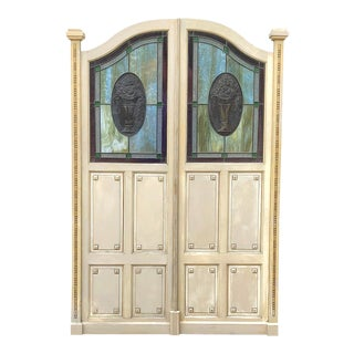 Pair Art Deco Period Salon Doors With Stained Glass For Sale