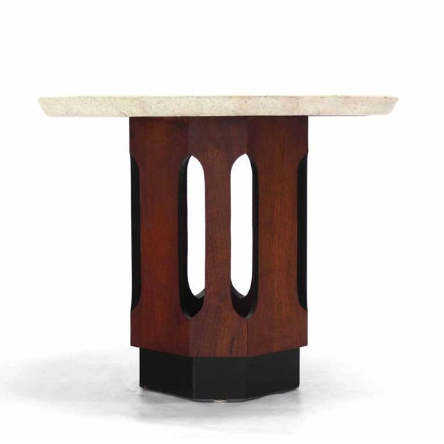 Pair of Octagon Shape Travertine Top End or Side Table on Walnut Bases - Image 6 of 7