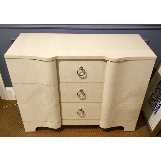 Original Retail $3300, Stylish Bungalow 5 Modern Serpentine Natural Lacquered Grasscloth Bardot Three Drawer Chest,...