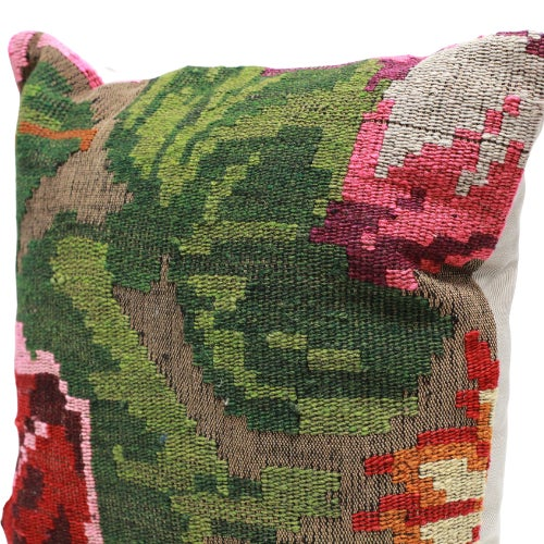 Abstract Rose Kilim Throw Pillow - 18×18 For Sale - Image 3 of 5