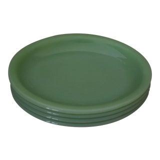 1940s Anchor Hocking Jadite Restaurant Ware Oval Plates - Set of 4 For Sale
