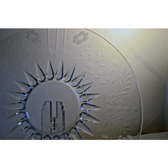 Traditional Vintage Clear Etched Glass Server Plate For Sale - Image 3 of 7