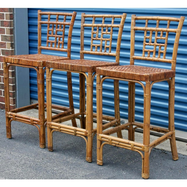 Rattan Wicker McGuire-Style Fretwork Bar Stools - Set of 3 For Sale - Image 4 of 11