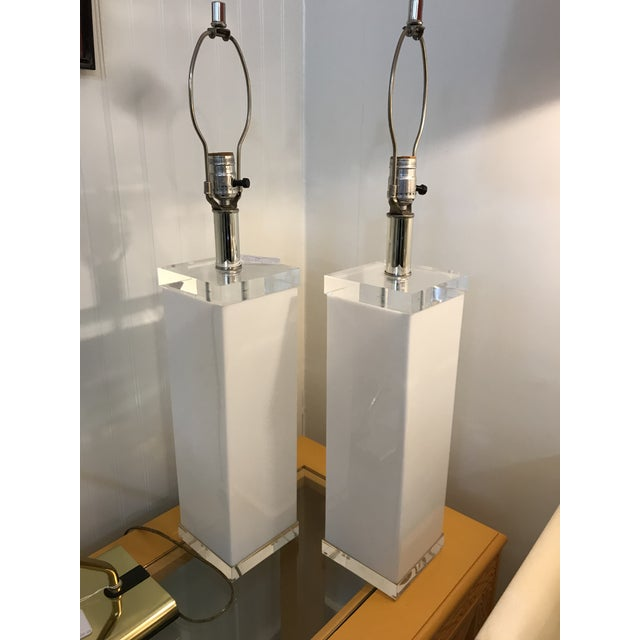 """Pair of vintage white lucite square column lamps with 1"""" clear solid lucite bases & tops, chrome colored necks and..."""