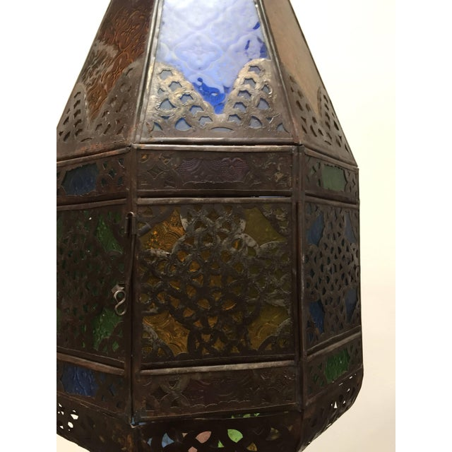 Moroccan Light Fixture With Colored Glass and Metal Filigree Moorish Designs For Sale In Los Angeles - Image 6 of 10