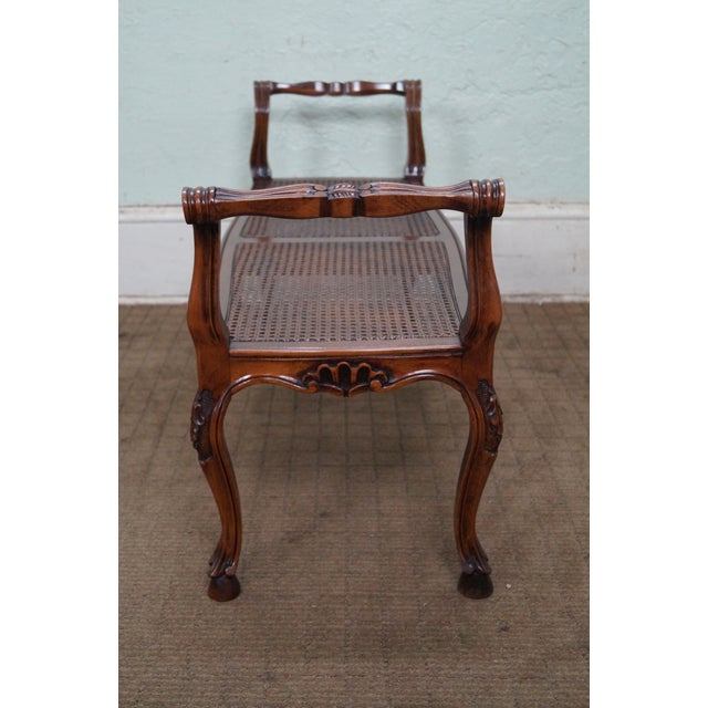 Italian Made French Louis XV Style Cane Seat Bench - Image 3 of 10