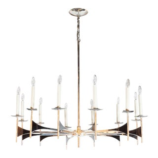 Mid-Century Modern Twelve-Arm Chrome and Black Resin Chandelier by Lightolier For Sale