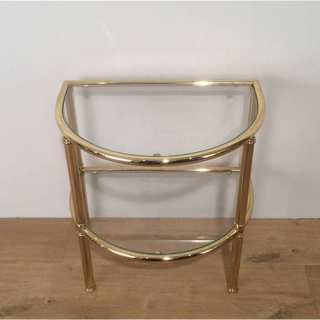 Brass Pair of French Demi Lune Shaped Brass Side Tables For Sale - Image 7 of 10